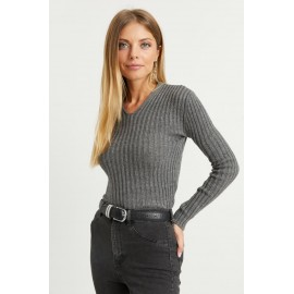 Women's V Neck Anthracite Sweater