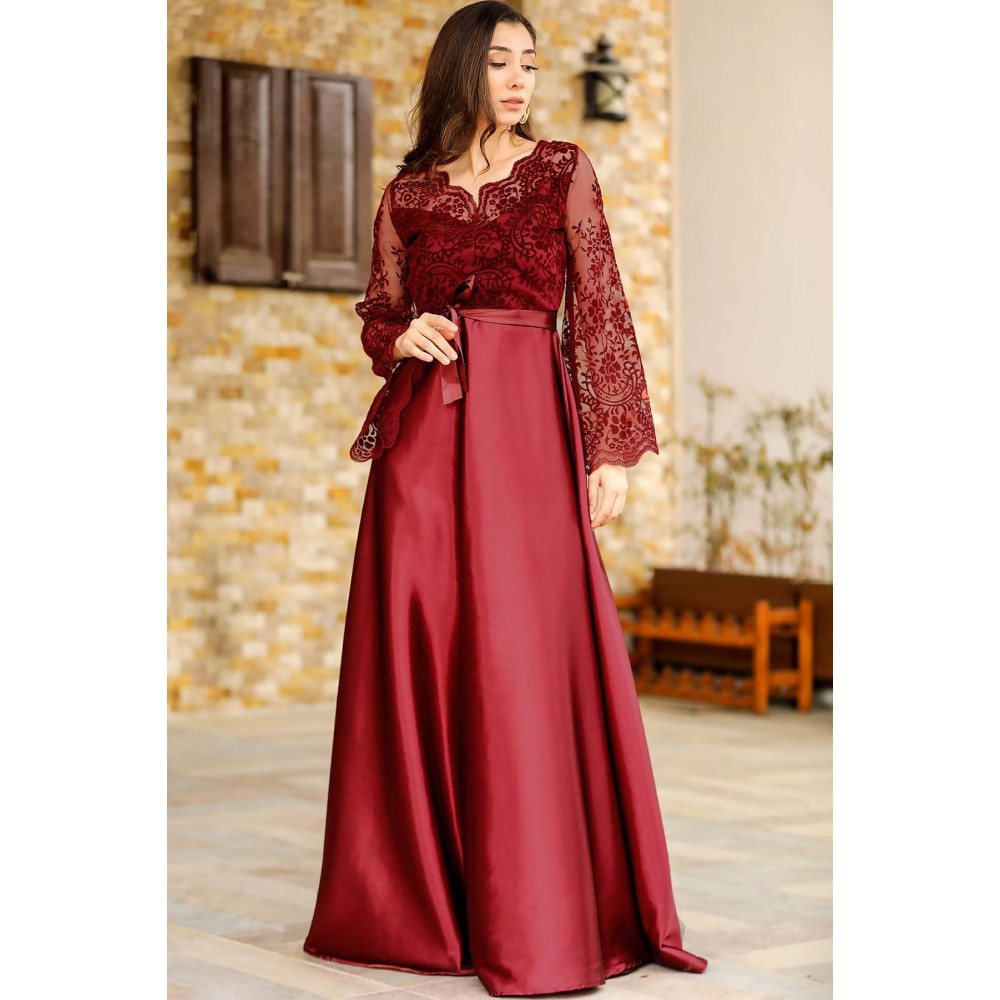 Women's Lace Detail Claret Red Evening Dress